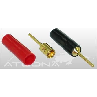 2 Qty (1 Pair) of Atlona Gold Speaker Cable Wire Pin Connectors Plugs
