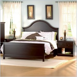 South Shore Mountain Lodge Queen Wood Panel Bed 3 Piece Bedroom Set in Ebony