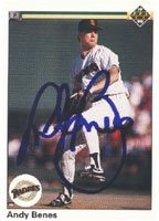 Andy Benes San Diego Padres 1990 Upper Deck Autographed Hand Signed Trading Card. by Hall+of+Fame+Memorabilia