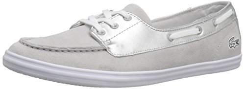 Lacoste Women's Ziane Deck 116 1 Fashion Sneaker, Silver, 7 M US