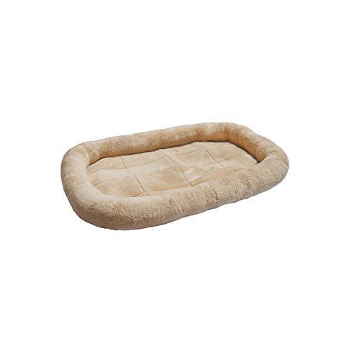 ALEKO® PPB30TN 29X20 Inch Padded Bolster Pet Bed Plush Cushion Mat for Dogs and Cats, Tan