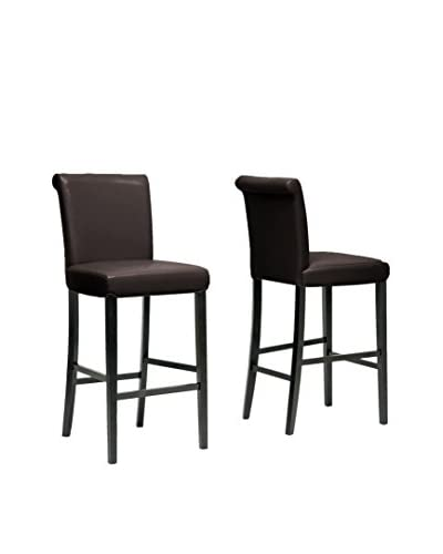 Baxton Studio Set of 2 Flavia Leather Barstools, Dark Brown