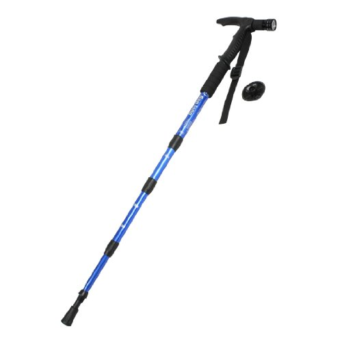 "Blue Black Aluminum Telescoping Hiking Trekking Pole Walking Stick 43.3"""