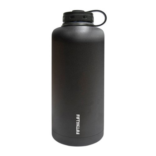 Lifeline Black Stainless Steel Vacuum Insulated Double Wall Barrel Style Growler - 64 Ounce Capacity