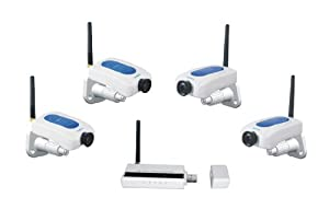 LYD W213ED4 2.4GHz Digital Wireless Security with 4 Digital Cameras, Motion Detection and Alarms