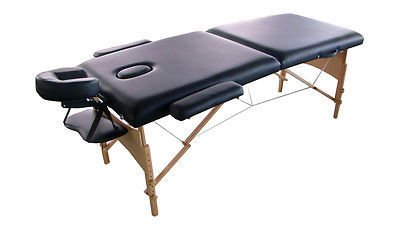 "Exacme 2"" PU Portable Massage Table Bed with Carry Case S22 Black"