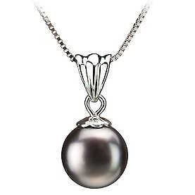 PearlsOnly Nancy Black 9.0-9.5mm AA Freshwater Silver With Rhodium Plated Cultured Pearl Pendant
