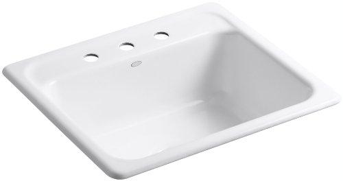 KOHLER K-5964-3-0 Mayfield Self-Rimming Kitchen Sink, White (Cast Iron Sinks Kitchen compare prices)