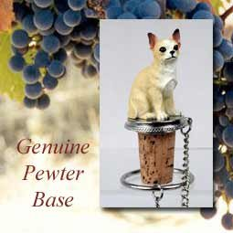 Chihuahua White/Tan Wine Bottle Stopper - DTB06B