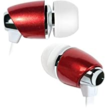 BELLO BDH440RD RED & CHROME IN-EAR HEADPHONE INCLUDES 3 SIZES OF EARBUDS
