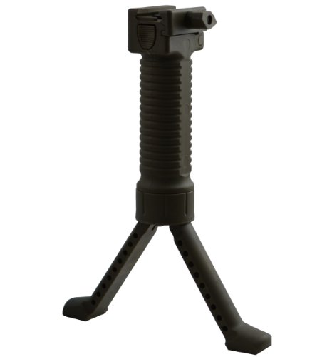 Tactical Milsim Airsoft Paintball Weaver Grip & Bipod -black