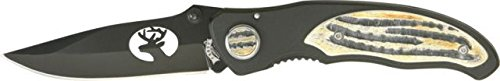 Frost Deer Tactical Ii Folding Knife, 3.375In, Black Finish Stainless Blade, Black 18028D