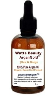 Watts Beauty ArganGold TM 1oz - 100% Pure Raw, Cold Pressed Argan Nut Oil For Hair & Body - Morocco