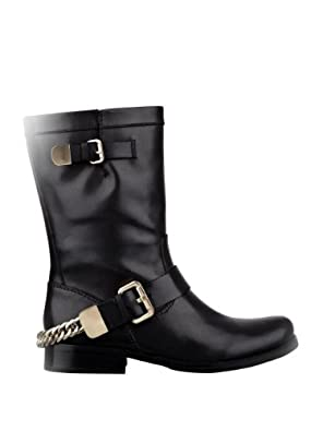 GUESS Women's Girton Casual Boots with Chain, BLACK LEATHER (7)