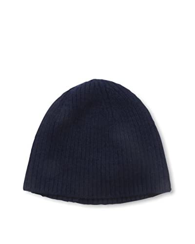 Portolano Men's Cashmere Hat Needle Ribbed Beanie, Navy