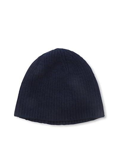 Portolano Men's Cashmere Hat Needle Ribbed Beanie, Navy