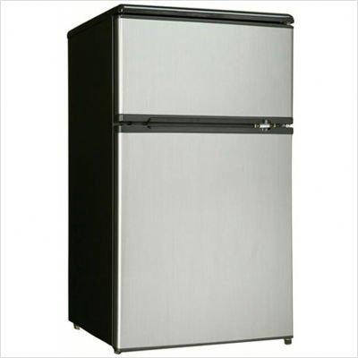 Danby DCR326BSL 3.1-Cu.Ft. Dual Door Compact Fridge with Freezer, Black/Stainless
