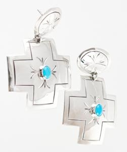 Vintage Navajo Turquoise Silver Cross Dangle Earrings By Delvin John