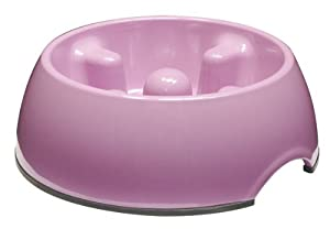Dogit Go-Slow Anti-Gulp Dog Bowl, Small, 300 ml, Pink