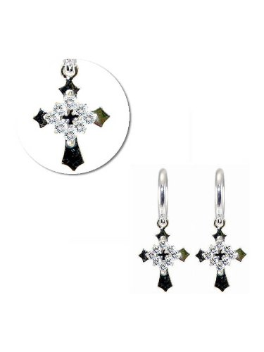 14k White Gold, Cross Dangling Drop Earring with Brilliant Created Gems