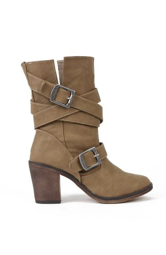 Dollhouse Persuade Leatherette Buckled Mid Calf Boot - Taupe PU