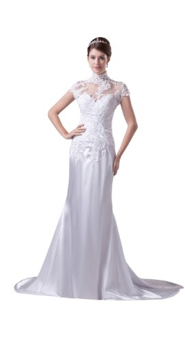 ImPrincess ip4-5288-i20 Wedding Dress Vintage Style High Neck Short ...