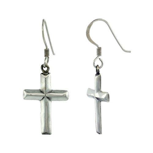 Sterling Silver Cross Dangle Earrings, 1 1/2 inch (36 mm) tall