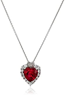 """buy Sterling Silver, Created Ruby, Created White Sapphire, And Diamond Heart Pendant Necklace (.015 Cttw, I-J Color, I2-I3 Clarity), 18"""""""
