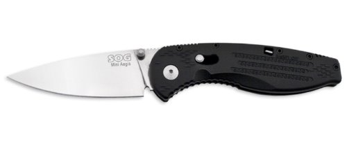 Sog Specialty Knives & Tools Ae21-Cp Aegis Mini Knife With Straight Edge Assisted Folding 3-Inch Aus-8 Steel Blade And Grn Black Handle, Satin Finish
