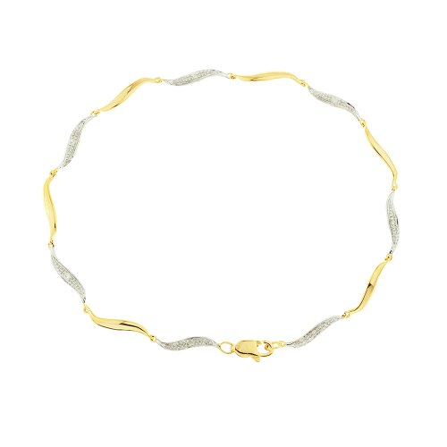 0.05 Carat Diamond Pave Setting Bracelet in 9ct Yellow Gold