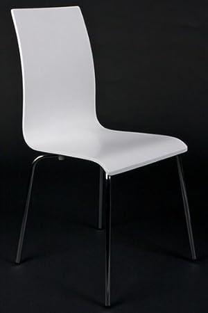 Sedie design in legno e acciaio cromato, bianco, sedie per sala da pranzo, moderna poltrona del salotto
