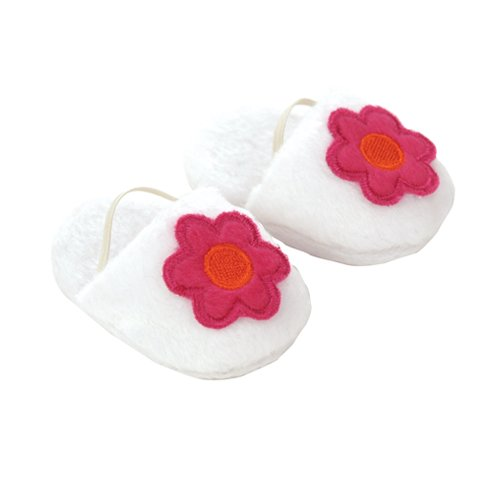 18 Inch Doll Slippers. White Slippers with Fuchsia Flower, Bedtime Doll Accessory