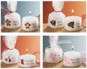 Personalized Mini Favor Candles with Pressed Flower & Matching Ribbon (Shades of Pink / Red)