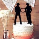 Mariage Wedding Cake Topper - même sexe, mariage, gay, haut de forme deux Cow-Boys