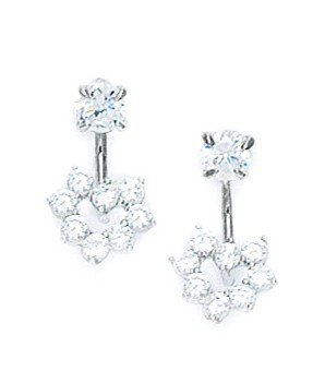 14ct White Gold CZ Grape Desig Telephone Earrings - Measures 15x8mm