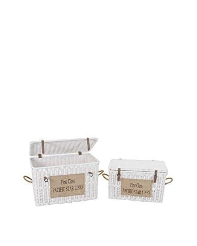 Jeffan Set of 2 Rope-Handled Trunks, White
