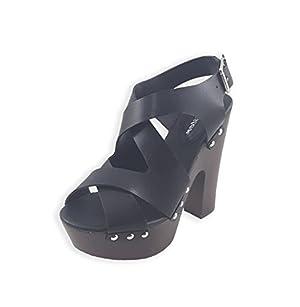 Glister Women's Eric-01 Chunky High Heel Platform Sandals Eric 01 9 Black