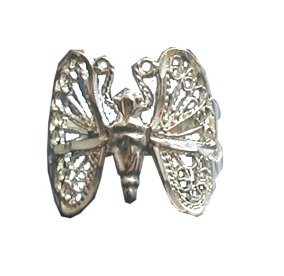 Sterling Silver Medium Split Shank Filigree Butterfly Ring Size 10