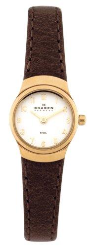Skagen Ladies Quartz Analogue White Dial Gold Plated Case Brown Strap Watch