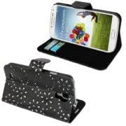 Flash Power Series Leather Case with Holder and Credit Card Slots for Samsung Galaxy S IV / i9500 (Black)