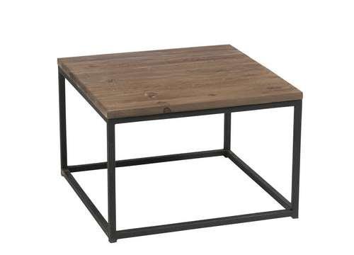 Tavolino Legno lordo e metallo nero