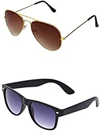 SHEOMY COMBO OF STYLISH GOLDEN BROWN AVIATOR AND BLACK BLUE WAYFARER SUNGLASSES WITH 2 BOX