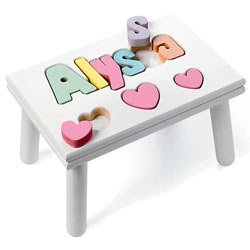 Personalized Heart Puzzle Stool