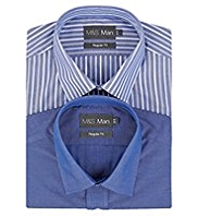 2 Pack Easy Care Short Sleeve Striped Shirts
