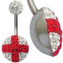Swarovski Crystal St. George Belly Bar - Hand made with love & care with over 100 swarovski crystals to give you the bling!! - comes in a lovely velvet pouch - Surgical Steel bar 10MM