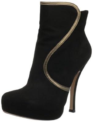 Pura Lopez Women's Piped Ankle Boot,Black,37.5 EU/7 M US