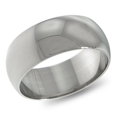 14K White Gold, Light Half Round Wedding Band 8MM (sz 8)