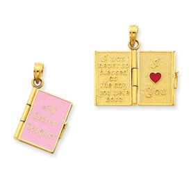 14K Enamel 3-D My Dearest Daughter Book Pendant