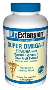 Life Extension Super Omega-3 EPA/DHA with Sesame Lignansand Olive Fruit Extract 120 softgels ( Multi-Pack)