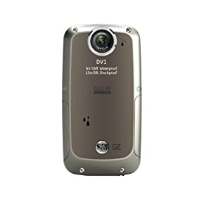 GE DV1-GG Waterproof/Shockproof 1080P Pocket Video Camera (Graphite Gray)